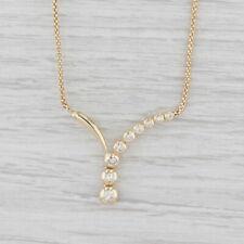 "0.52ctw Diamond V Station Necklace 14k Yellow Gold 17"" Popcorn Chain"