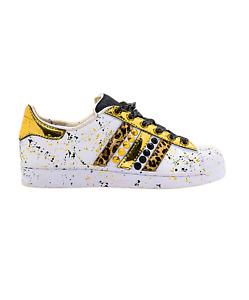 EticaEstetica Custom Sneaker Adidas Superstar Bianca Uomo Leopardo e Borchie