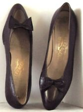 EUC Low Heel SHOES by SALVATORE FERRAGAMO Dark Plum w. Contrast TRIM Sz 8.5 B