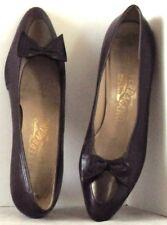 EUC Low Heel SHOES by SALVATORE FERRAGAMO Dark Plum w. Contrast TRIM Sz 8.5 B