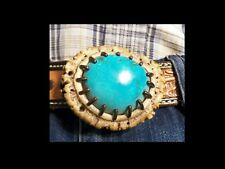 Large Turquoise Cabochon 43mm x 38mm Belt Buckle Artisan Hand Made
