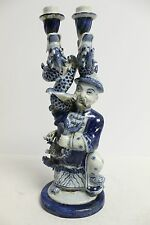 Vintage Blue and White Porcelain Candle Holder Dragon and man Figurine