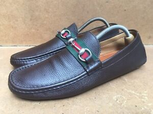 Gucci Horsebit 322741 Brown Leather Driving Web Logo Loafers Size Uk 10.5 G |11