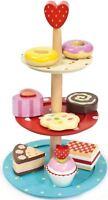 Le Toy Van HONEYBAKE CAKE STAND SET Wooden Afternoon Tea Play Food Kids BN