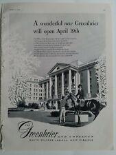 1948 Greenbrier WV hotel & Cottages will open April 19th vintage original ad