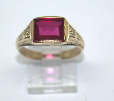 MEN'S 14 K YELLOW GOLD  W/ SYNTHETIC RUBY STONE RING #DBW