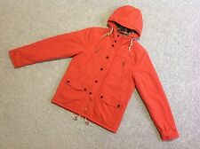NEXT THIN PADDED QUILTED MOUNTAIN PARKA JACKET WITH HOOD IN ORANGE SIZE SMALL