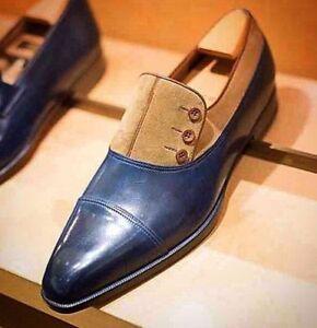 Handmade Men Buttoned Oxford Leather & Suede Formal Shoes los zapatos de cuero