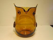 Retro Mid Century Amber Large Blenko Glass Owl Shaped Vase
