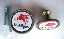 Mobil Gas Cabinet Knobs, Mobil Gasoline Logo Cabinet Knobs, Mobilgas Knobs