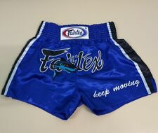 SHORTS FAIRTEX BS0645 MUAY THAI ADULT SHARK BOXING BLUE GENUINE M SATIN UNISEX