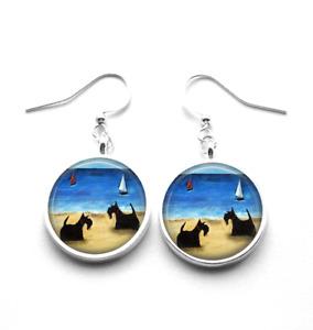 Silver Plated Scottie Dogs on a Beach Art Earrings