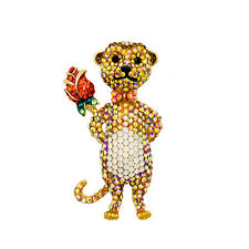 Butler and Wilson Crystal Small Meerkat with a Rose Brooch NEW