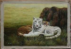"""Quality art oil painting on canvas the white tiger 100% hand-painted 24""""x36"""""""