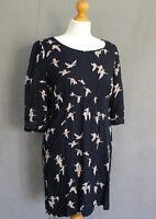 JOULES Ladies MARNAVY WICKMERE Bird Pattern DRESS - Size UK 10 - US 6 - EU Small