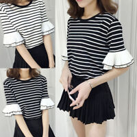 Korean Style Women Girls Striped Casual Short Sleeve T-shirt Loose Blouse Tops