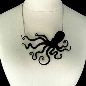 Vintage Squid Black Jellyfish Octopus Sweater Necklace Pendant Chain Unique