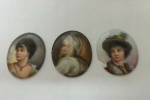 THREE EARLY PAINTED PORCELAIN PLAQUE MINIATURE PAINTINGS BEAUTIFUL LADIES(2084)