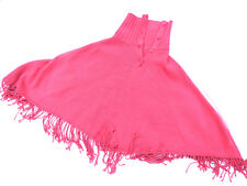 M&S Knitted Poncho Tassels Buttons Fondant Pink One Size RRP £29.50