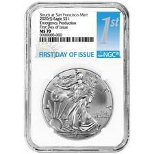 2020 (S) $1 American Silver Eagle NGC MS70 Emergency Production FDI First Label