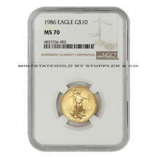 1986 $10 Gold Eagle NGC MS70 American 22 KT 1/4 Oz American Bullion Coin