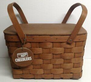 Vintage Rare Basketville Keebler Cheebles Woven Wooden Picnic Basket