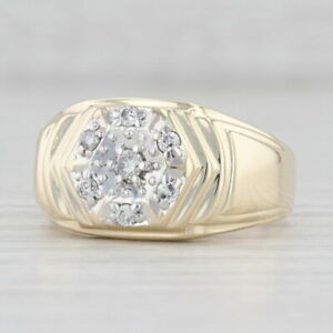 Vintage Diamond Cluster Ring 10k Yellow Gold Size 10.75