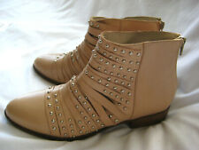 NWOB White Mountain Summit Made in Italy Beige Studded Ankle Booties Sz 41 US10