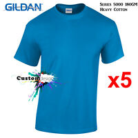 5 Packs Gildan Sapphire T-SHIRT Basic Tee S - 5XL Men Heavy Cotton