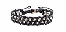 MEN'S Intricate Woven Silver Beaded Black Adjustable Shamballa Jewelry Bracelet