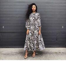 RICHARD ALLAN X H&M Patterned Calf Length Bell Sleeve Skirt Midi Dress 12 40