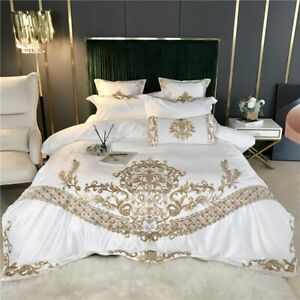 Luxury White Satin Silk Cotton Gold Embroidery Bedding Duvet Cover Bedclothes