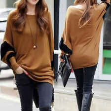 Women's Fashion Round Neck Bat Sleeve Autumn Simple Casual Loose Tops Sweater SY