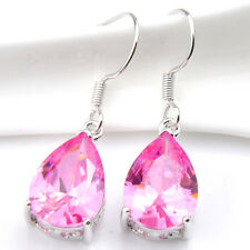 Elegant Lady Waterdrop Mystical Pink Topaz Crystal Silver Dangle Earrings Gift