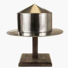 Authentic Replica Medieval Warrior Silver Kettle Hat Helmet With Wood Stand