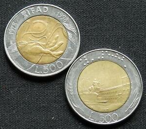 VATICAN 20 50 100 200 500 LIRE 1998 POPE BI METAL UNC RARE CURRENCY 5 COIN SET