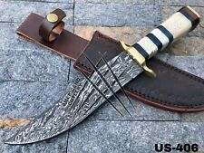 AMERICANO CUTLERY HAND FORGED DAMASCUS HUNTING BUSHCRAFT BOWIE KNIFE - US-406