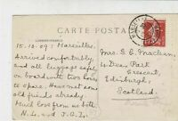 France Marseille 1909 Cathedral Picture Stamps Post Card to Scotland Ref 32130