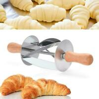 Stainless Steel Dough Croissant Rolling Pin Roller Tool Home Cutter Baking A6J1