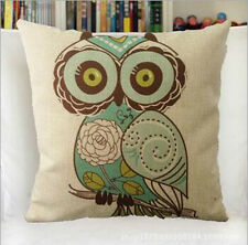 Vintage Linen Cotton Couch Sofa Cushion Cover Throw Pillow Owl 45X 45 cm