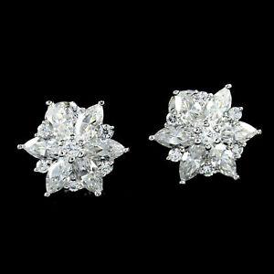 QVC Epiphany Platinum Clad Diamonique Flower Stud Earrings $280