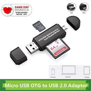 SD Card Reader For Android Phone Tablet PC Cam Micro USB OTG to USB 2.0 Adapter