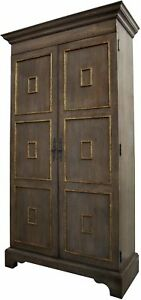 """90"""" T Hutch Solid Reclaimed Oak Wood Distressed Light Shellac Gold Detail Doors"""