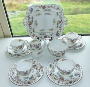 Royal Worcester China Pekin 15 PC Cups Saucers Plates Milk Sugar Blue Butterfly