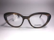 CHANEL Eyeglass Frames 3253-H c. 1415 Brown Gold Frosted Women Cateye Glasses