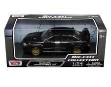 MotorMax 1:24 Subaru Impreza WRX STi & Gold Wheels Diecast Model Car Black 73330