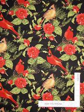 Christmas Wildwood Cardinal Birds Flowers Black Cotton Fabric Wilmington By Yard