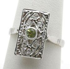 New Victorian 14k white gold Diamond & Peridot Ring Vintage reproduction long