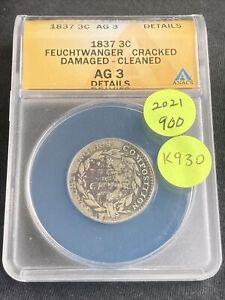 1837 Feuchtwanger Three Cent K930