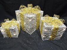 LIGHT Up Large Silver Oro Fiocco Indoor Outdoor Luci di Natale Pacco Decorazione